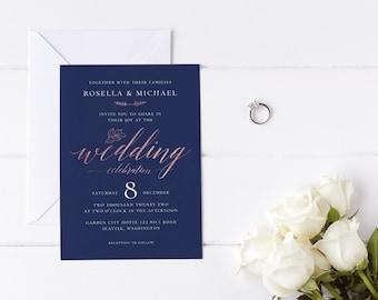 Modern Wedding Invitation Template, Navy, Rose Gold, Calligraphy, Simple, Minimalist, Editable, Printable, Instant Download, Templett, N1