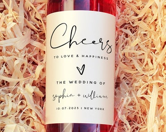 Wine Bottle Label Template, Wedding Labels, Cheers to Love and Happiness Label, Printable Wine Bottle Labels, Instant Download, Templett, M8