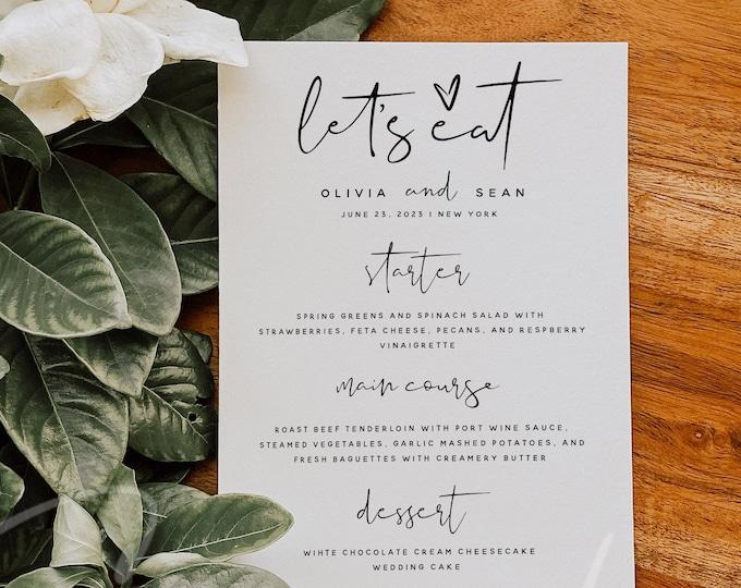 Modern Menu Template, Wedding Menu, Minimalist Wedding Menu, DIY Printable Menu, Instant Download, Reception Dinner Menu, 100% Editable, M8
