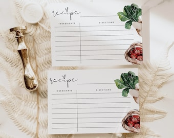 Kitchen Recipe Cards Template, Printable Recipe Cards Template, Kitchen Recipe Cards, Bridal Shower Insert Card, 4X6 Cards, Instant Download