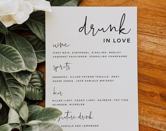 Drink Menu Template, The Bar Menu, Minimalist Wedding Menu, DIY Printable Menu, Instant Download, Reception Dinner Menu, 100% Editable, M8