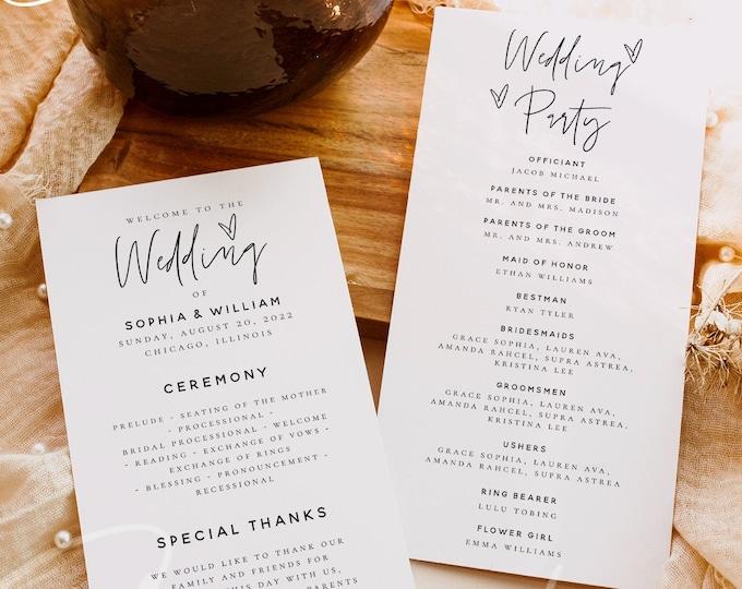 Wedding Program Template, DIY Wedding Program Template, Printable Wedding Ceremony Program, Editable Text, Instant Download, Templett, M7
