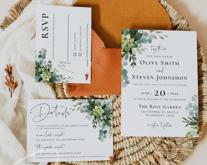 Greenery Wedding Invitation Set, Eucalyptus Greenery Wedding Invitation Suite, Invitation Kit RSVP Details Card Instant Download Templett G3