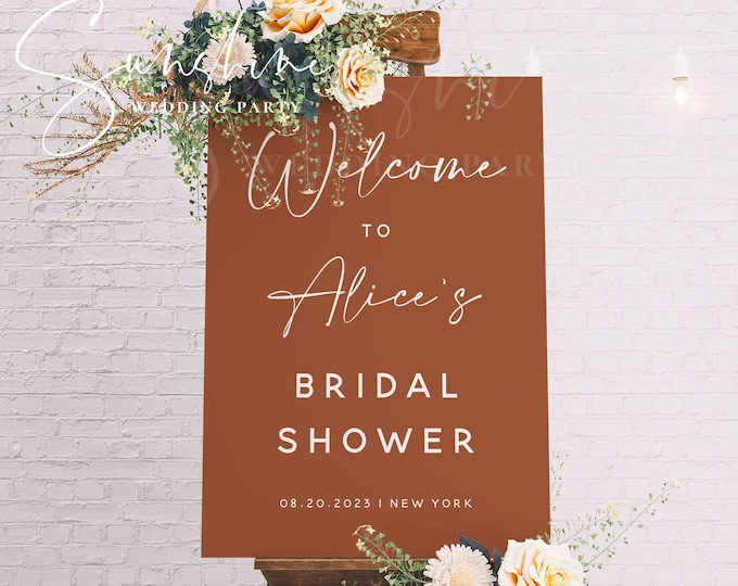 Terracotta Bridal Shower Welcome Sign Template, Modern Minimalist Bridal Shower Welcome Sign, Printable Welcome Sign, Instant Download, T1