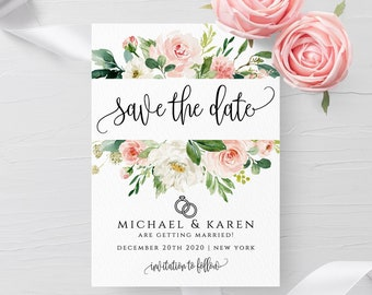 Blush White Floral Wedding Save the Date Template Printable Save the Date Editable Save the Date Template Instant Download Templett PDF F5