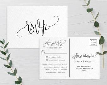 Wedding Invitation PSVP Postcard Template Editable Printable Wedding Postcard RSVP Wedding Invitation RSVP Template Templett Invitation R1