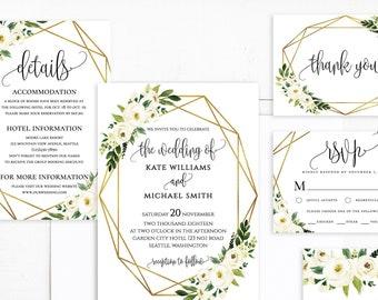 White Floral Greenery Foliage Wedding Invitations Template White Floral Wedding Invitations Suite Printable White Floral Invitation Suite