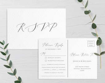 Wedding Invitation PSVP Postcard Template Editable Printable Wedding Postcard RSVP Wedding Invitation RSVP Template Templett Invitation R3