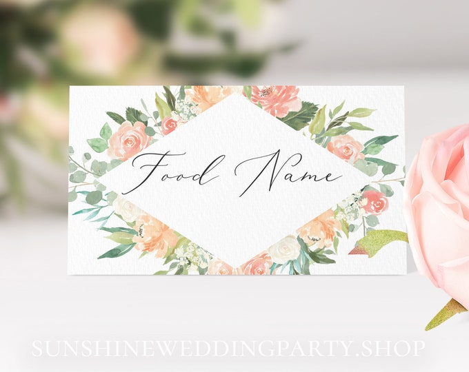Peach Floral Food Labels Food Table Tents Editable Food Tent Cards Instant Download Food Tent Template Printable Food Table Tent Templett F1