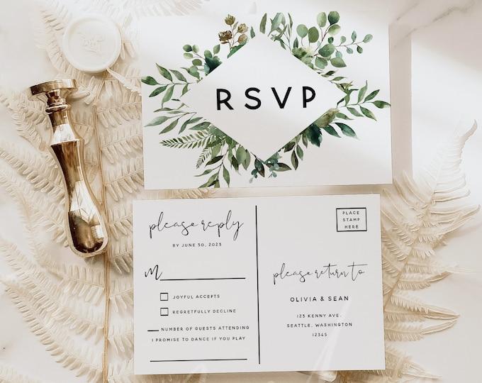 Greenery Wedding Invitation PSVP Postcard Template, Wedding Postcard RSVP, Printable RSVP Kindly Reply, Editable Text, Instant Download, G5