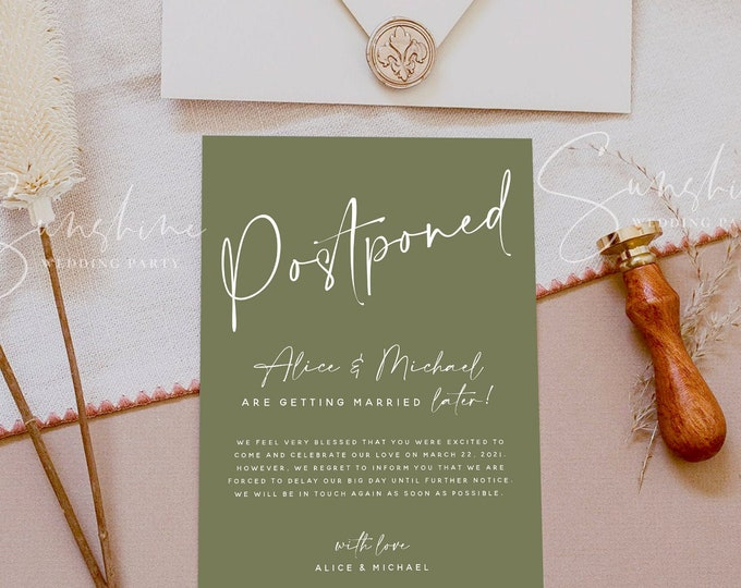 Terracotta Wedding Postponed Card Template, Printable Wedding Postponed Cards, Cactus Green, Modern Minimal, Instant Download, Templett, T1