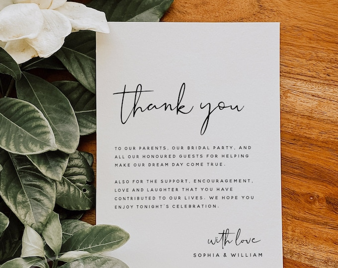 Wedding Thank You Cards Template, Minimalist Thank You Letter, Modern Thank You Note, Printable Wedding Thank You Card, Instant Download, M8
