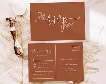 Terracotta Wedding RSVP Postcard Template, Floral Printable RSVP Postcards, Terracotta Wedding Editable Template, Wedding Postcard RSVP, T2