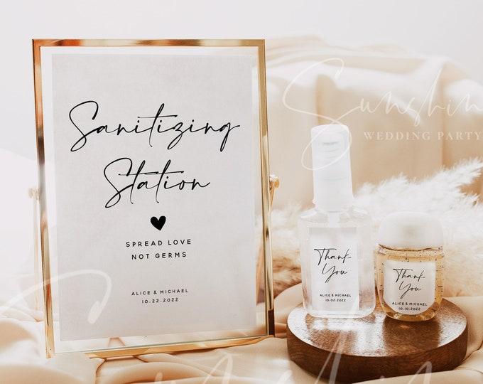 Wedding Hand Sanitizer Label Sign Kit Template, Sanitizing Station Sign, Printable Mini Hand Sanitizer Label, Instant Download, Templett, M3