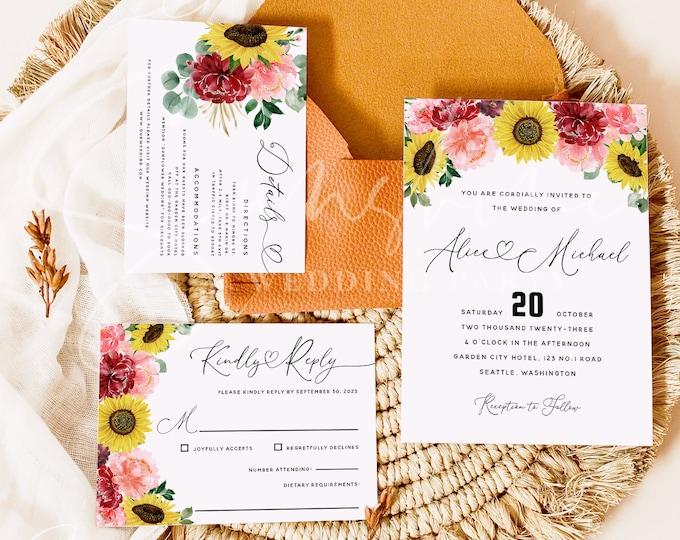 Sunflower Burgundy Wedding Invitation Set Template, Printable Invitation Suite, RSVP, Details Card, Editable, Instant Download Templett, F12