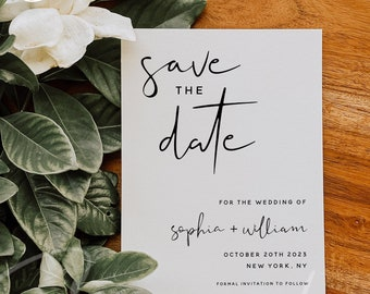 Save the Date Template, Modern Minimalist Wedding Save the Date Card, Electronic Save the Date Template, Save the Date, Instant Download, M8