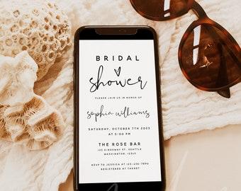 Bridal Shower Invitation Template, Electronic Bridal Shower Invitation, Modern Digital Bridal Shower Evite, Instant Download, Templett, M8