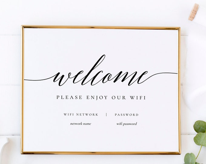 Wifi Password Sign Printable Instant Download Wifi Sign Template Home Wifi Network Editable Wifi Sign Editable Instant Download Templett R2