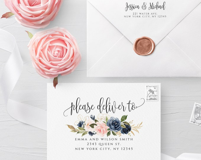 Blush Navy Envelope Template Wedding Editable DIY Printable Wedding Envelope A7 A6 A1 Envelope Address Template Instant Download Templett F6