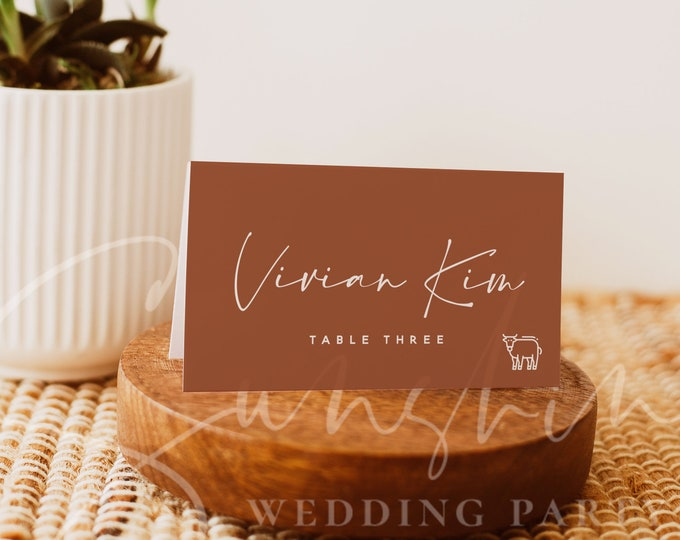 Terracotta Wedding Table Place Card Template, Printable Place Cards, Calligraphy Table Place Cards, Editable, Instant Download, Templett, T1