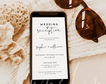 Electronic Wedding Reception Invitation Template, Reception Evite Template, Modern Digital Reception Invite, Instant Download, Templett, M8