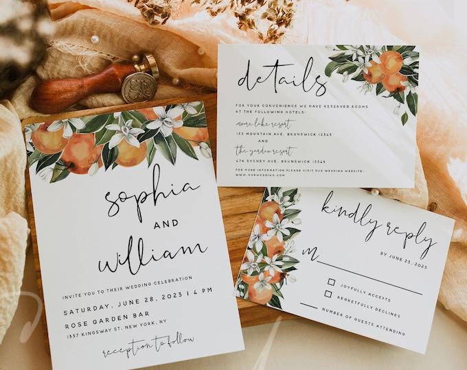 Citrus Wedding Invitation Kit Template, Orange Wedding Invitation Suite, Invitation Set, RSVP Details Card, Instant Download, Templett, C2