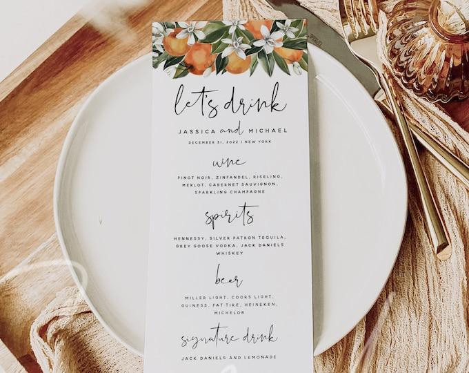 Citrus Wedding Drink Menu Template, DIY Orange Wedding Drink Menu, Printable Drink Menu, Digital Download, Reception Menu, 100% Editable, C2