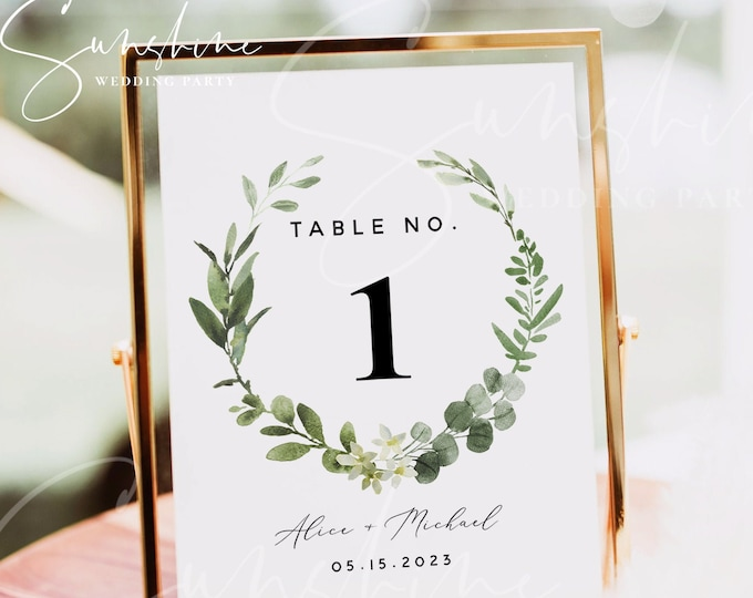 Eucalyptus Greenery Wedding Table Number Sign Template, Printable Wedding Table Number Card Template, Editable Instant Download, Templett G3