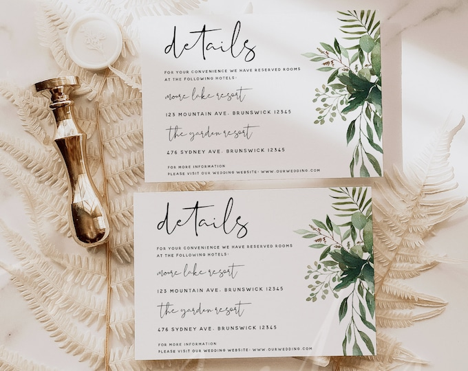 Greenery Wedding Details Card Template, Greenery Accommodations Cards, Printable Wedding Greenery Details Card, Instant Download Templett G5