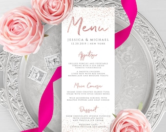 Rose Gold Wedding Menu Template Printable Flat Menu Template Printable Editable Wedding Menu Rose Gold Menu Templett Instant Download PDF M1