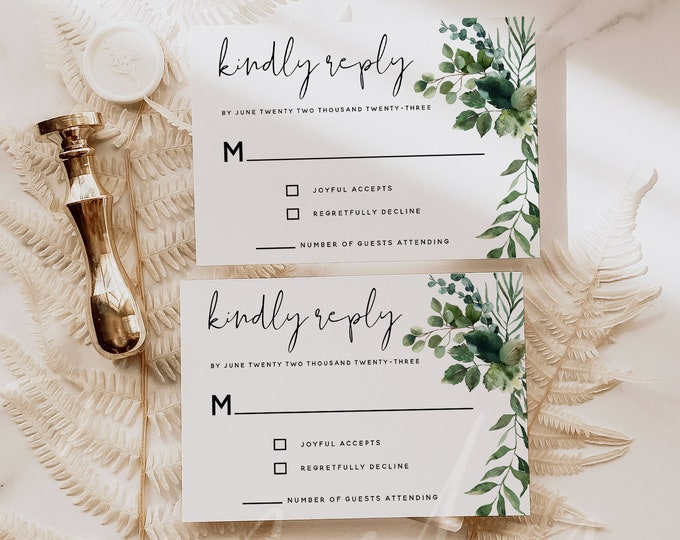 Greenery Wedding RSVP Card Template, Greenery Wedding RSVP Cards, Printable Greenery Kindly Reply RSVP Cards, Instant Download, Templett, G5