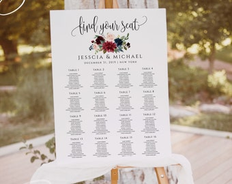 Marsala Burgundy Navy Seating Sign Template Wedding Seating Chart Template Printable Wedding Seating Template Instant Download Templett F3