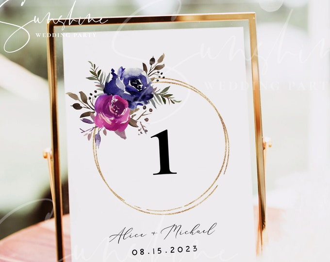 Blue Purple Wedding Table Number Sign Template, Printable Wedding Table Number Card Template, Editable Sign, Instant Download, Templett, F9