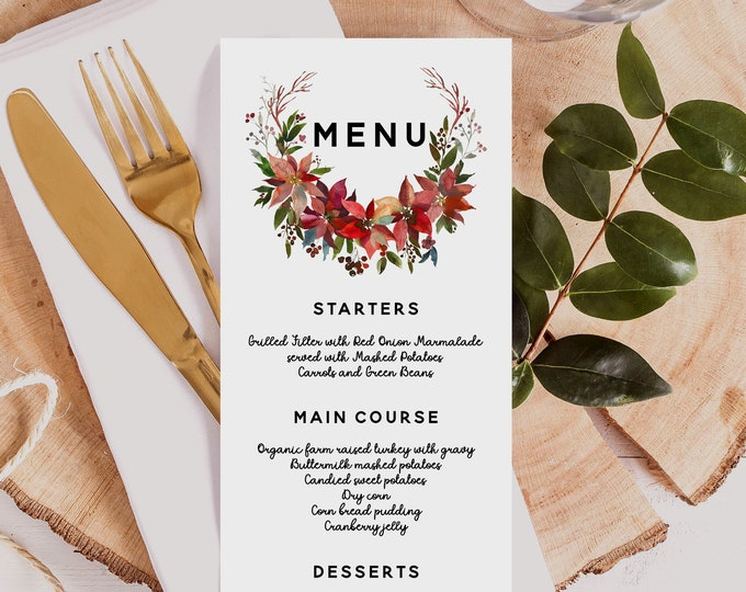 Christmas Dinner Menu Template, Winter Wedding Menu Template, Editable Christmas Menu, Printable Wedding Menu, Instant Download, Templett