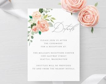 Wedding Details Card Template Editable Printable Peach Floral Wedding Information Card Wedding Accommodations Card Template PDF Templett F1