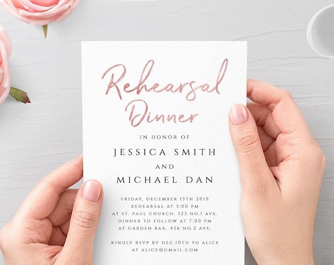 Rose Gold Rehearsal Dinner Invitation Template Printable Editable Rehearsal Dinner Invitation Template Wedding Instant Download Templett M1