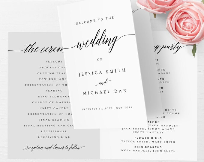 Folded Wedding Program Template Folded Wedding Program Printable Editable Folded Wedding Program Template DIY Instant Download Templett R2