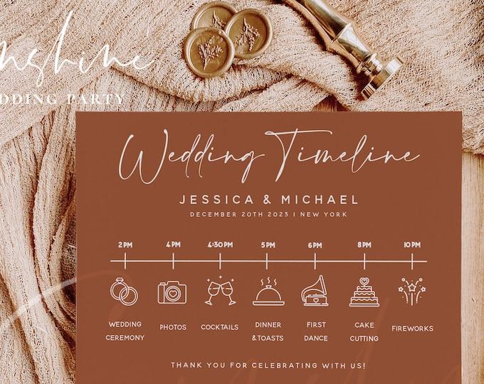 Terracotta Wedding Itinerary Template, Modern Wedding Timeline Template, Minimalist Printable Wedding Timeline, Instant Download Templett T1