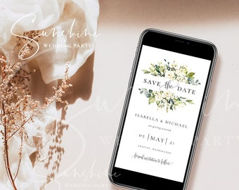 Electronic Save the Date Template, White Floral Wedding, DIY Digital Save the Date, Editable Save the Date, Instant Download, Templett, F7