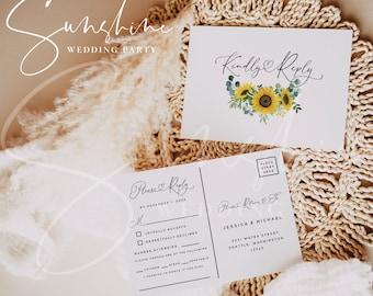Sunflower Eucalyptus RSVP Postcard Template, Printable Wedding Postcard RSVP, Editable RSVP, Instant Download, Templett, Invitation, F13