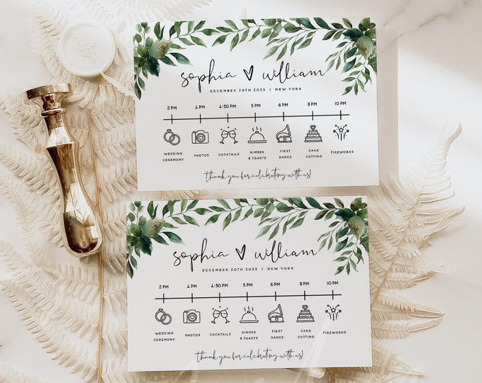 Greenery Wedding Itinerary Template, Wedding Timeline Template, Printable Itinerary Cards, Order of Events, Instant Download, Templett, G5