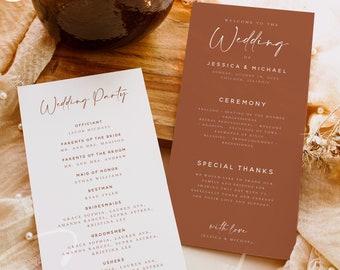 Terracotta Wedding Program Template, Terracotta Modern Order of Service, Editable, Earthy Printable Program, Instant Download, Templett, T1