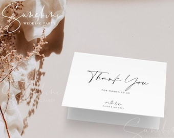 Minimalist Wedding Thank You Card Template, Modern Thank You Card Template, Printable Thank You Template, Instant Download, Templett, M3
