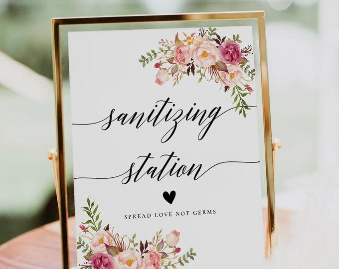 Sanitizing Station Sign, Covid Wedding Sign, Sanitizer Station, Hand Sanitizer Sign, Printable Sign, Marsala Wedding, Instant Download, F4