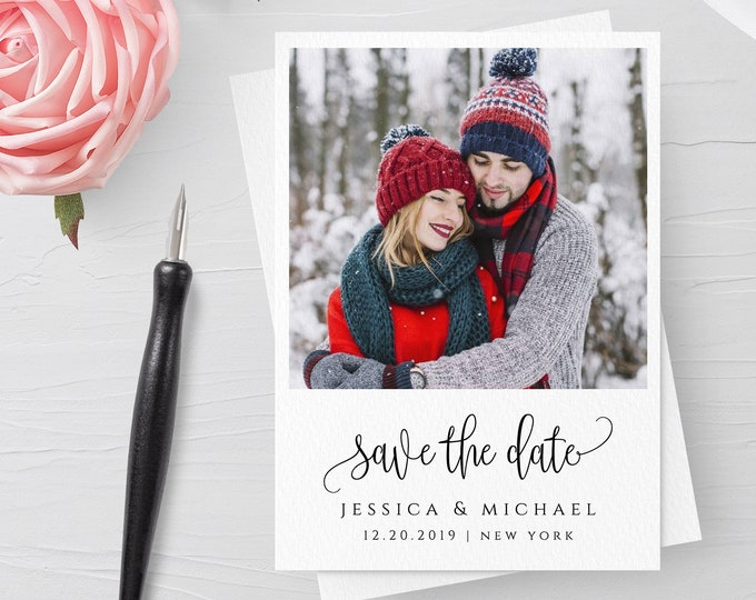 Photo save the date template DIY save the date Save the date photo template Wedding announcement cards Photo save the date printable card R1
