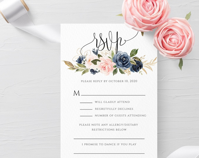 Navy Blush Wedding Invitation PSVP Template Editable Printable Wedding RSVP Template Wedding Invitation RSVP Template Templett Invitation F6