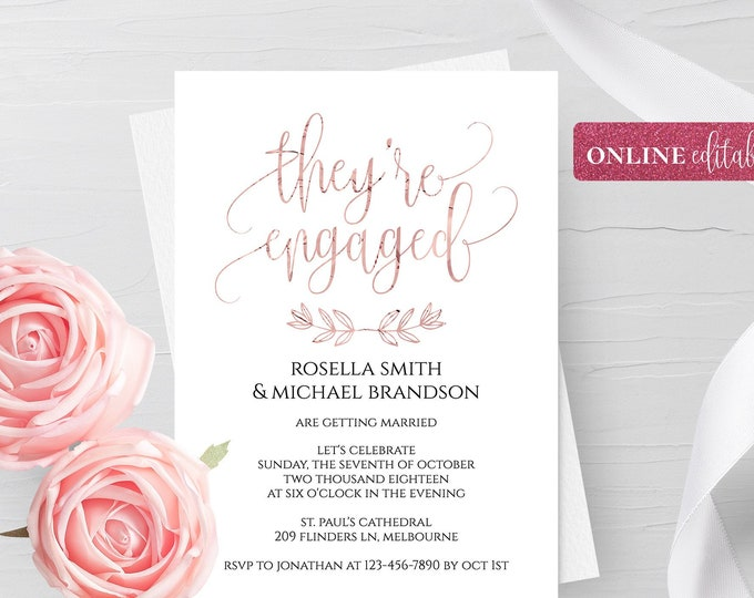 Pink Foil Engagement Invitation Template Online Editable Pink Foil Invitation Template Pink Engagement Invitation Digital Instant Download