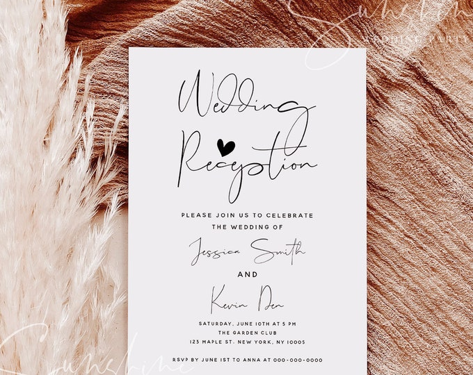 Wedding Reception Invitation Photo, Boho Invitation Template, Elopement Announcement Invitations, Modern Editable Invites, Minimalist, M4