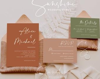 Terracotta Wedding Invitation Suite, Burnt Orange Wedding Invitation Template Set, Rustic Wedding Invite, Modern Minimalist Bohemian, T1