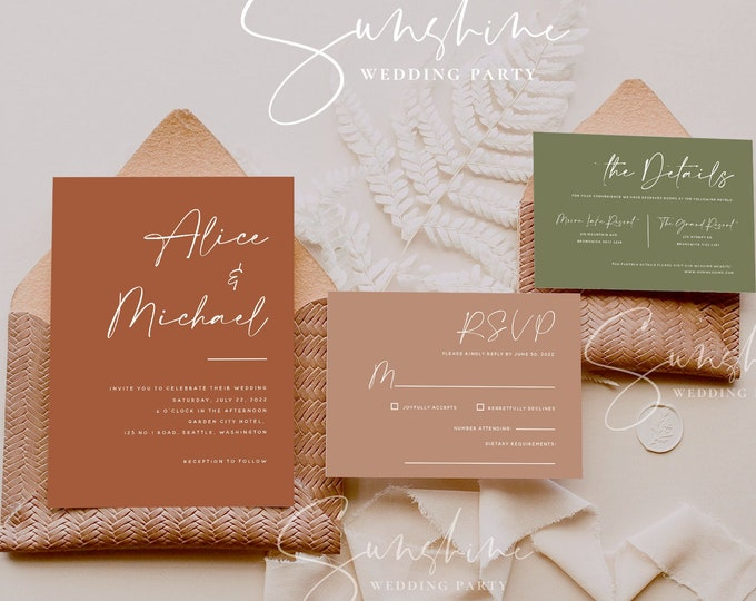 Terracotta Wedding Invitation Suite, Burnt Orange Wedding Invitation Template Set, Rustic Wedding Invite, Modern Minimalist Bohemian, T1